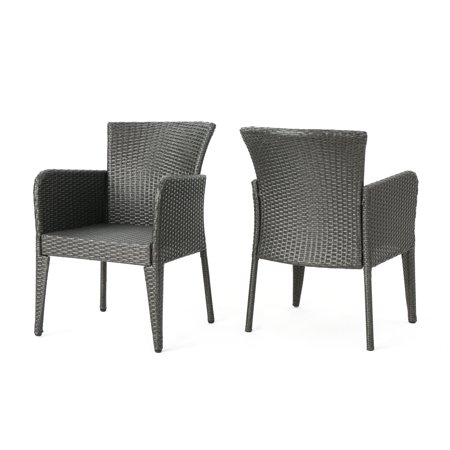 Daisy Outdoor Wicker Dining Chairs, Set of 2, Grey ()