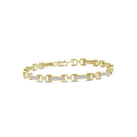 14k White Gold Diamond Heart Link Bracelet (1/4 Carat T.W. White Diamond 14kt Gold over Silver Bar Link Bracelet, 7.5)