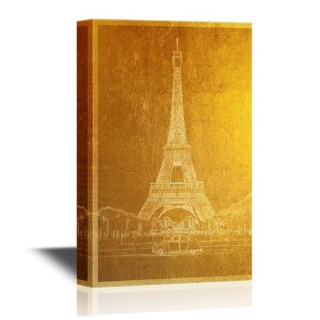 wall26 Golden Color Landmark Canvas Wall Art - Eiffel Tower in Paris - Gallery Wrap Modern Home Decor | Ready to Hang - 32x48 inches