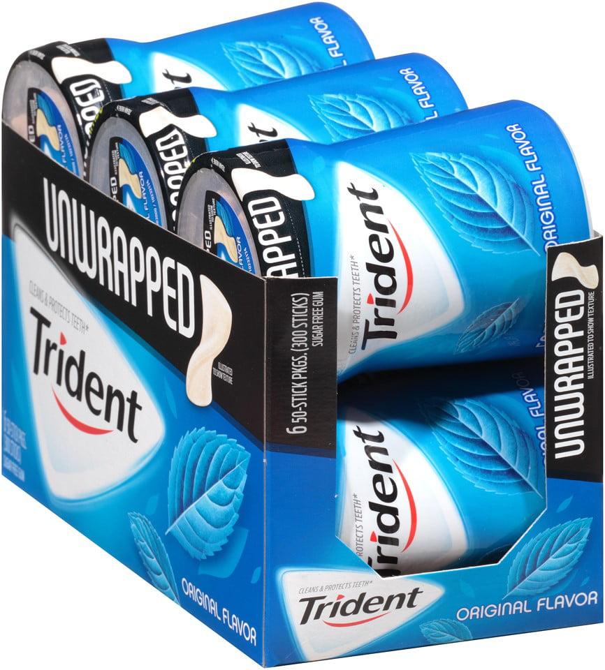 Trident Unwrapped Sugar-Free Original Gum, 3.1 Oz., 50 Pieces