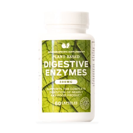 Foods Natural Enzymes - Digestive Enzymes Supplements, Natural Plant Based Superfood - 60 Capsules 300mg Probiotics Amylase Bromelain Lipase