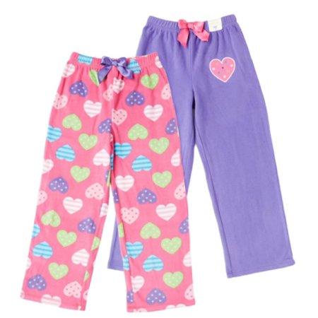 ST. EVE Girl's Microfleece Sleep Pant (2-Pack) by KOMAR KIDS (Pink / Purple / Hearts, 7) 2 Piece Microfleece Set