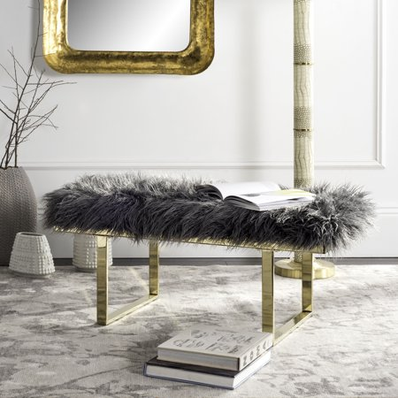 Safavieh Maia Brass Plated Faux Sheepskin Bench, Multiple (Brass Bench)