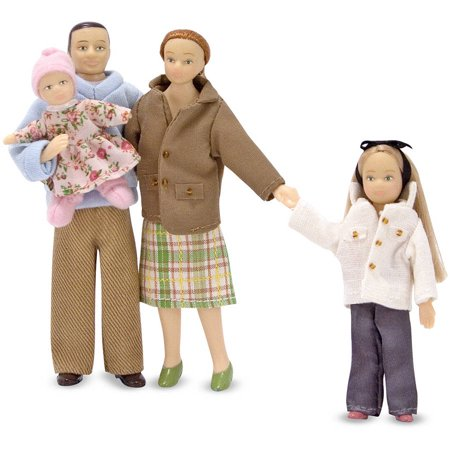 Melissa & Doug 4-Piece Victorian Vinyl Poseable Doll Family for Dollhouse, 1:12 Scale