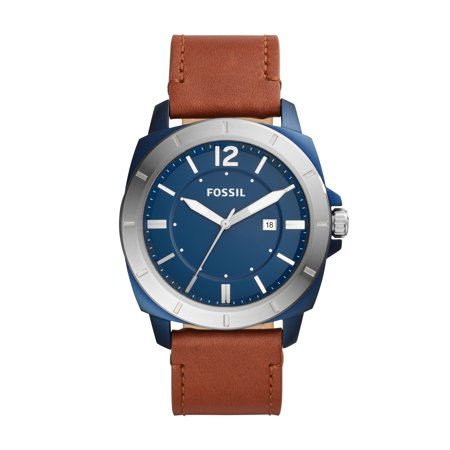 Fossil Men's Privateer Sport Three-Hand Date Brown Leather Watch Date Brown Leather
