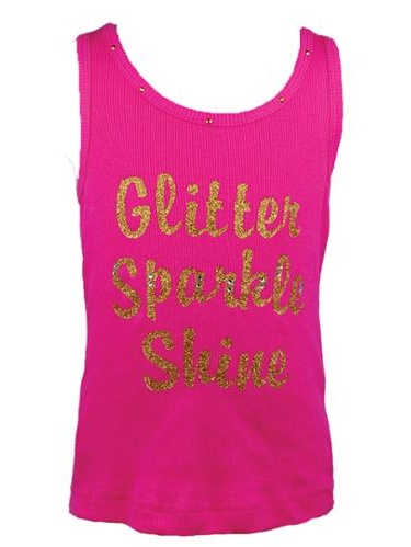 "Reflectionz Baby Girls Hot Pink Gold ""Glitter Sparkle Shine"" Tank Top 12-18M"