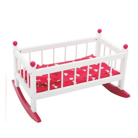 Wooden Doll Rocking Cradle with Mattress and Bedding