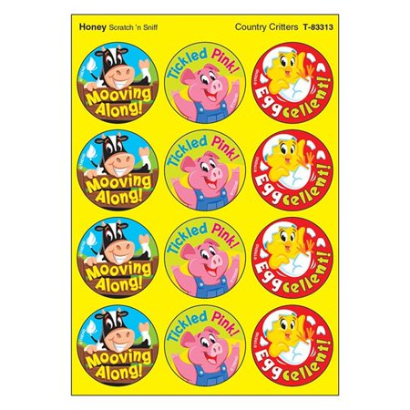 Trend Enterprises T-83313 1.25 in. Country Critters & Honey Scratch N Sniff Stinky Stickers, Large Round