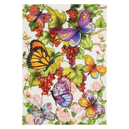Toland Home Garden Vineyard Fruit Flag Choose from available sizesMade from 100% polyester, resistant to UV, mildew, and fadingInsects and fruit designPrinted in the USAMachine washableDisplays easily on flagpoles, arbors, and hangers (not included)