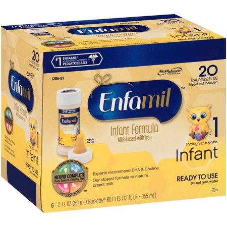 Enfamil  Ready To Use Infant Formula 6 2 Fl  Oz  Nursette  Bottles