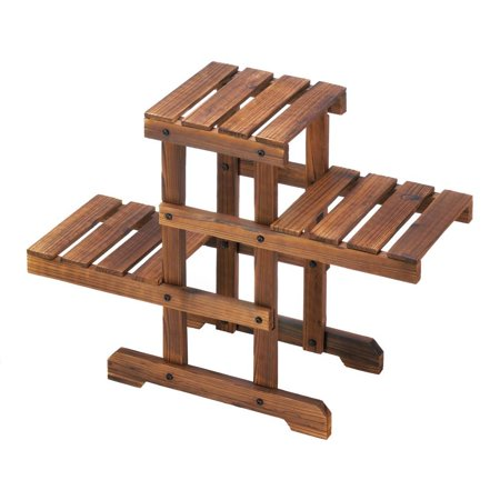 Outdoor Plant Stand, Zigzag Pallet Decorative Floor Patio Plant Stand (Barrel Floor Stand)