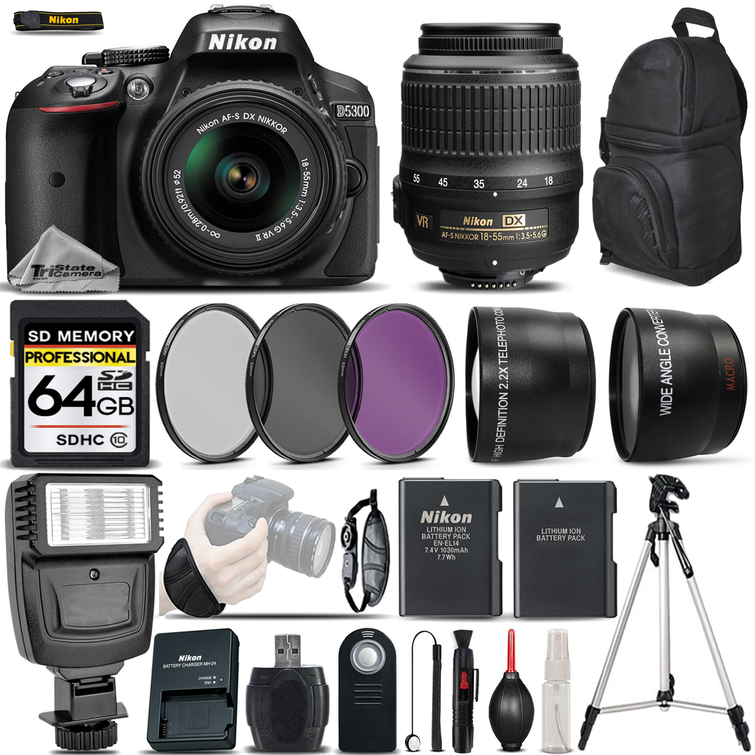 Nikon D5300 DSLR Camera Built-In Wi-Fi + Nikon 18-55mm VR Lens + Flash + 0.43X Wide Angle Lens + 2.2x Telephoto Lens + 3PC Filter Kit. All Original Accessories Included - International Version