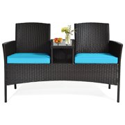 Topbuy Outdoor Patio Rattan Wicker Conversation Set Loveseat Sofa with Coffee Table Turquoise