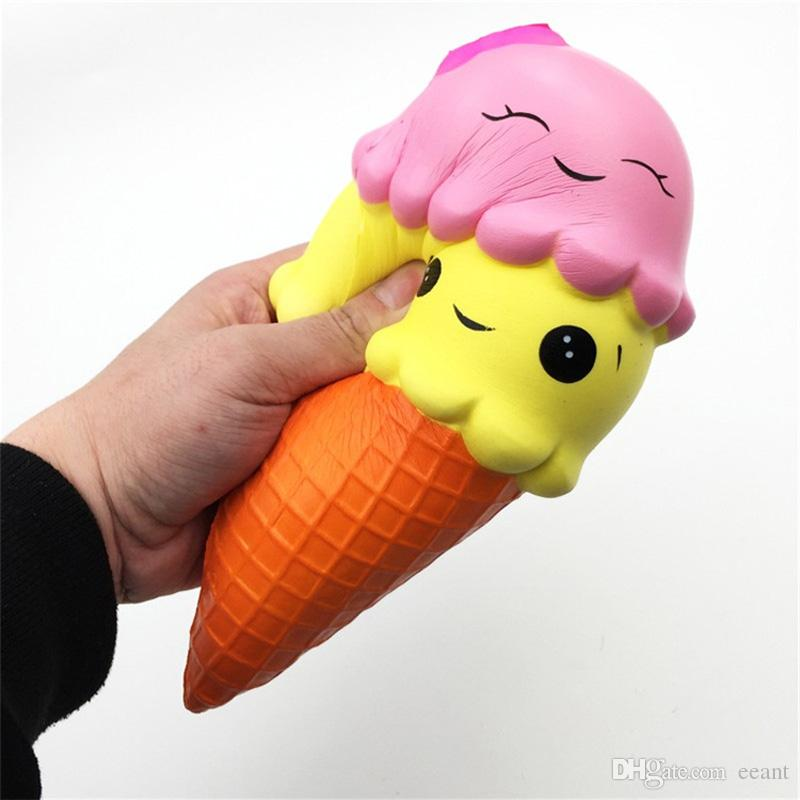 Cp Usa 1 New Slow Rising Toy Kawaii Double Smiley Face Icecream Cone Squishy Scented Squeeze Squishies Toys for Collection Gift, Stress Relief Toy