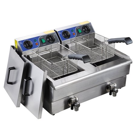 Commercial Electric 23.4L Deep Fryer w/ Timer and Drain Stainless Steel French Fry - image 9 de 9