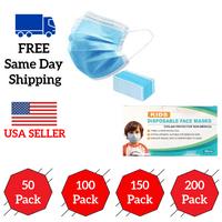 Face Masks 50/100/150/200 PCS Children 3 Ply Disposable Cotton Fabric w/ Elastic Ear Loop