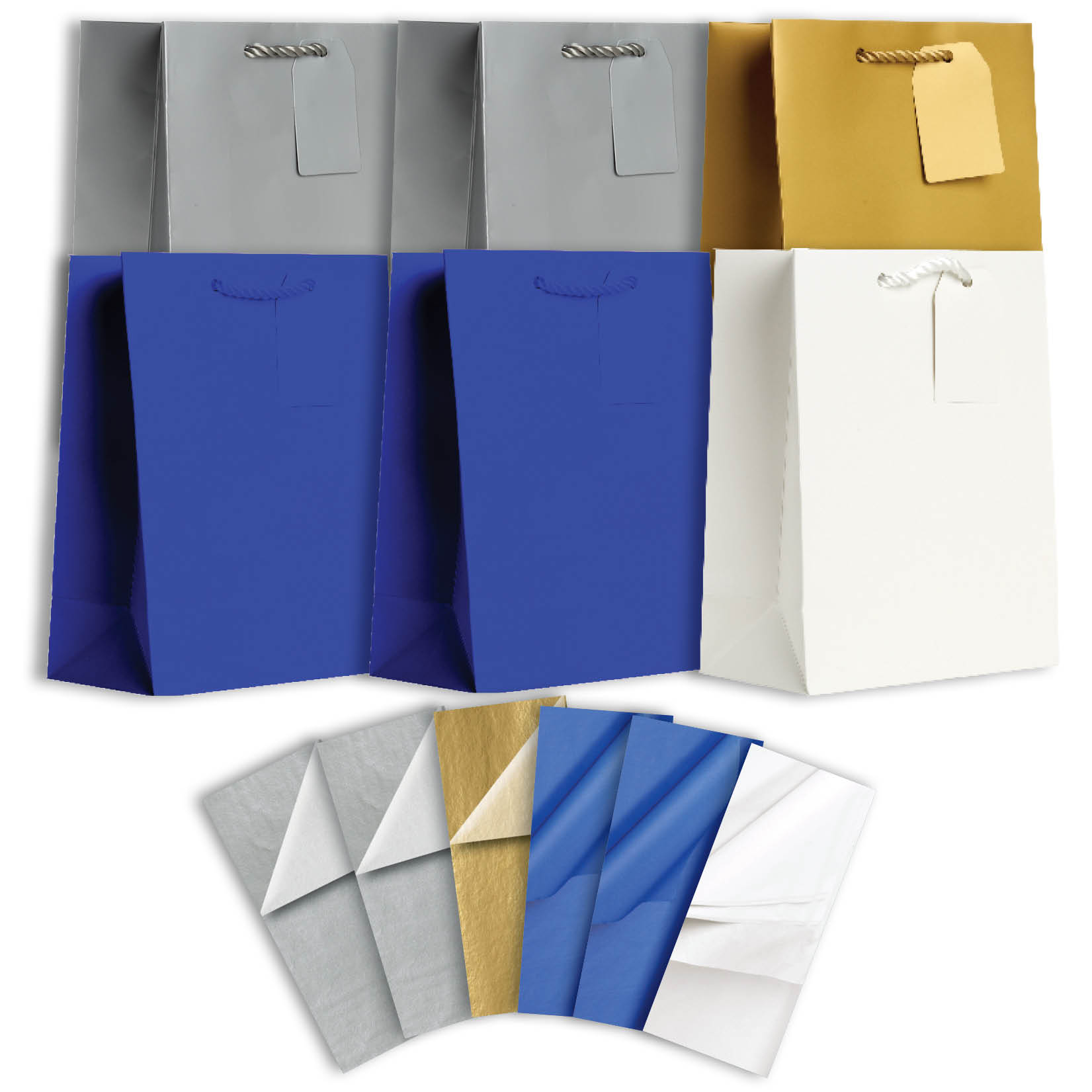 Jillson & Roberts Solid Color Matte Medium Gift Bag & Tissue Assortment, Hanukkah (6 Bags)