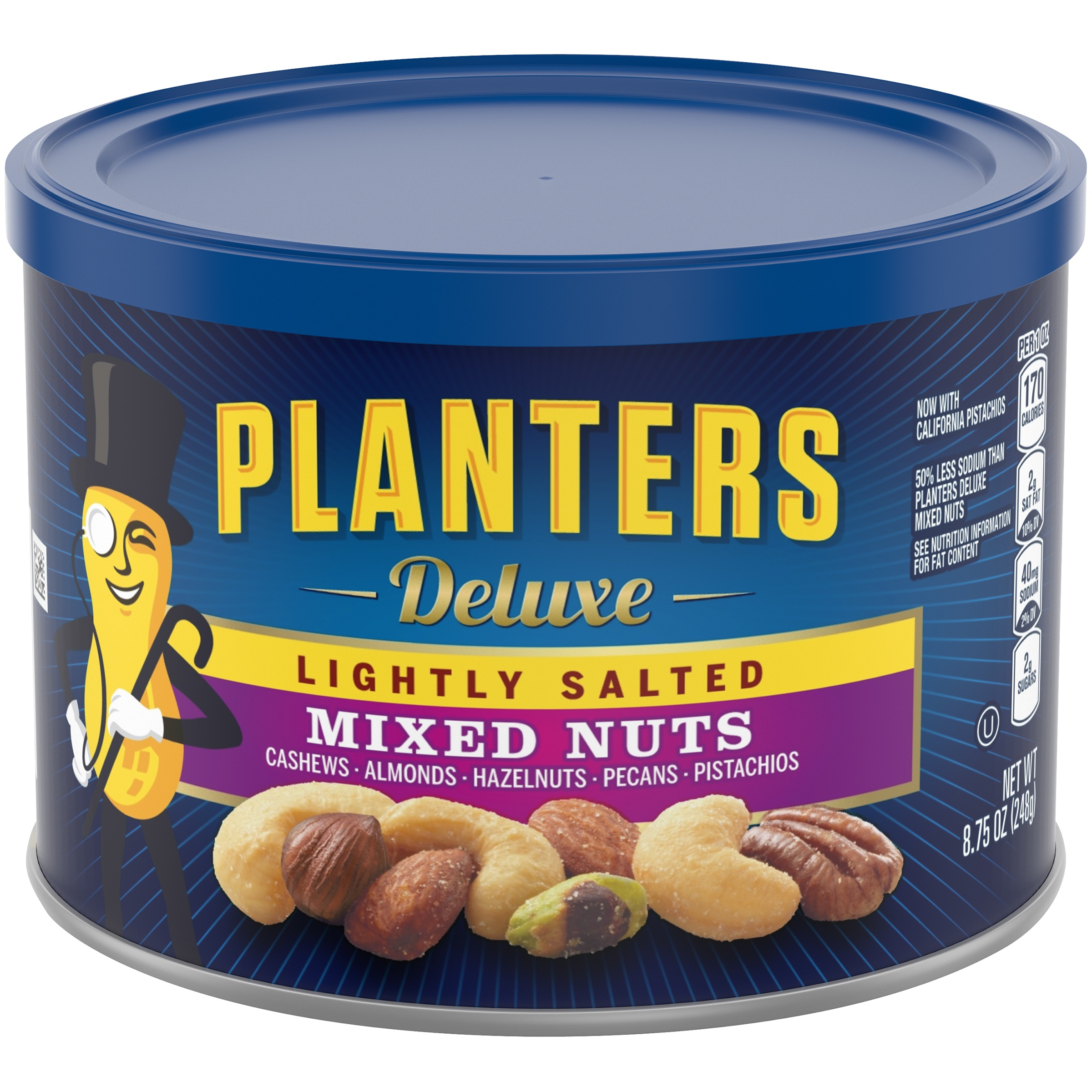 Planters Deluxe Lightly Salted Mixed Nuts 8.75 oz. Canister