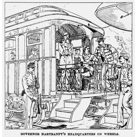 Great Railroad Strike 1877 Npennsylvania Governor John F Hartranfts Mobile Headquarters During The Great Railroad Strike Of 1877 Contemporary American Newspaper Engraving Rolled Canvas Art     18 X 24