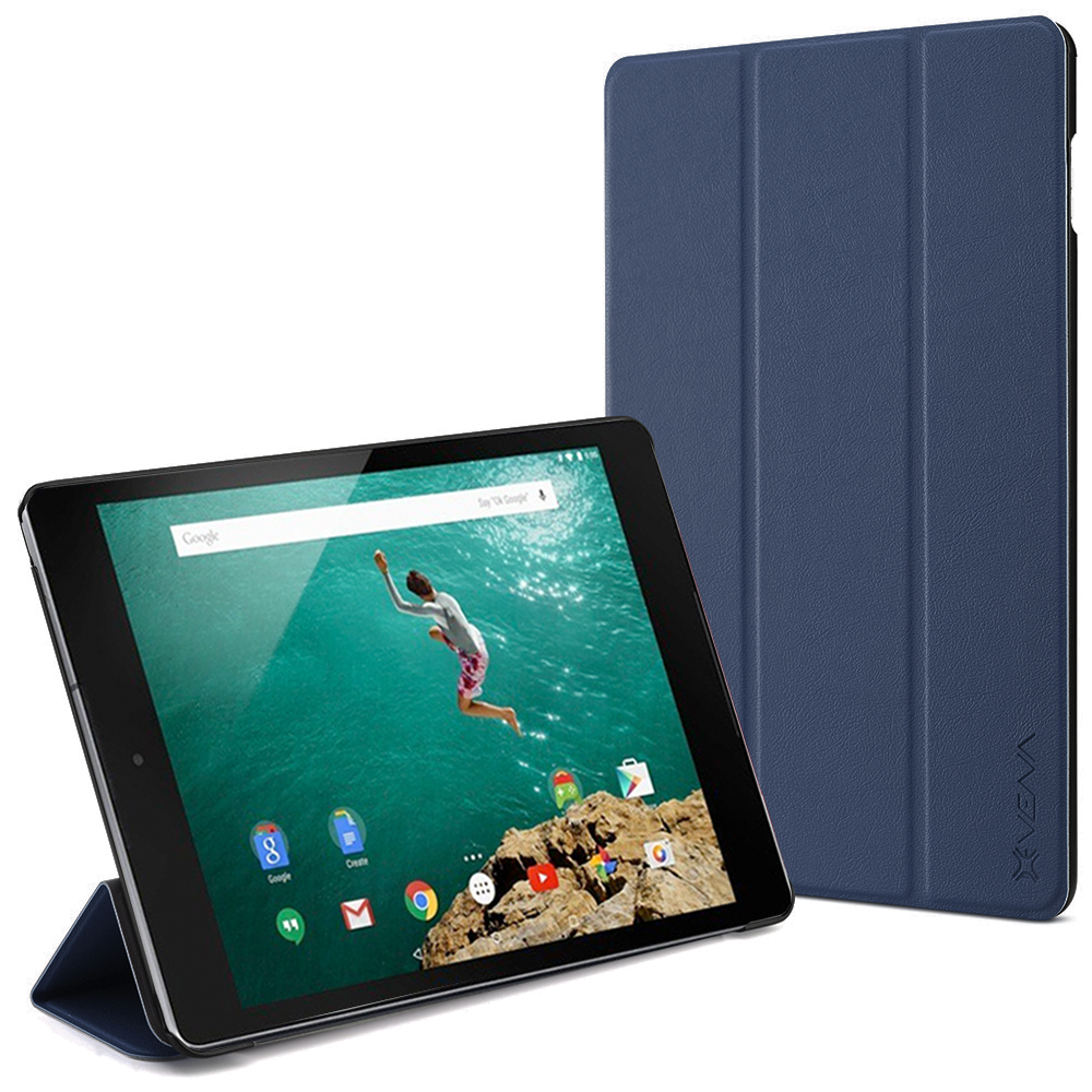 Google Nexus 9 Smart Cover - VENA [vCover] Slim Leather Auto Sleep / Wake Hard Shell Case for Google Nexus 9 Tablet (Navy Blue)