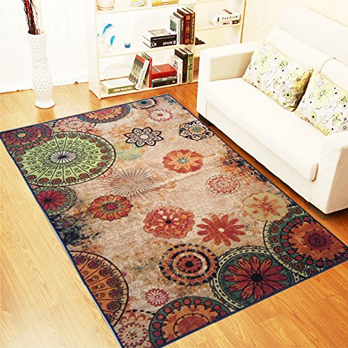 """Contemporary Floral Bright Color Anti-Bacterial Rubber Area Rugs Non-Skid 5'x7'5"""" by"""