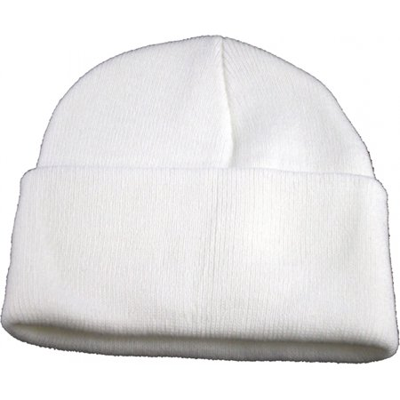 - Classic Plain Long Cuff Mens Beanie Sock Cap [White]