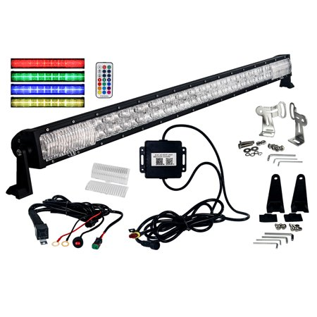 "RGB Series 50"" OZ-USA Double Row Dimmable LED Light bar Cross Style DRL & Variable RGB Bluetooth Functions Combo Beam Anti-theft Hardware Off road 4WD ATV SUV Truck"