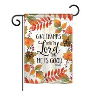 "Breeze Decor - Give Thanks Unto the Lord Fall - Seasonal Thanksgiving Impressions Decorative Vertical Garden Flag 13"" x 18.5"" Printed In USA"