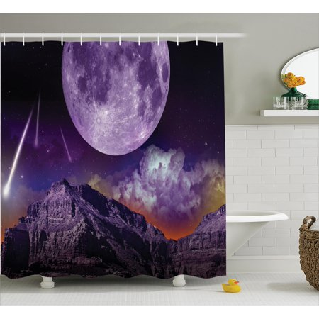 Outer Space Shower Curtain Set Fantasy Dark Night In