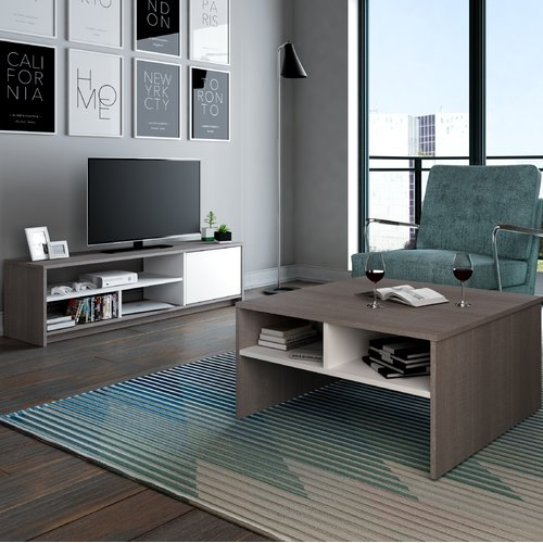 Bestar Small Space 2-Piece Storage Coffee Table and TV Stand Set in Bark Gray and White
