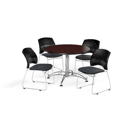 Ofm Pkg Brk 168 0044 Breakroom Package Featuring 42 In  Round Multi Purpose Table With Four Stars Stack Chairs