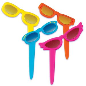 Metallic Sunglass Cupcake Picks - 12 ct
