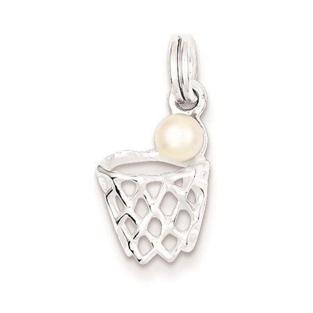 Sterling Silver Syn. Pearl Basketball in Hoop Polished Charm