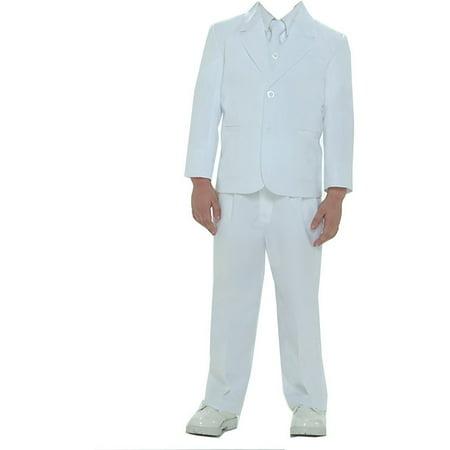 (Boys White Single Breasted Jacket Vest Shirt Tie Pants 5 Pc Suit)