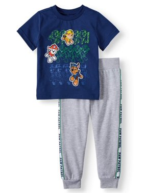 Paw Patrol Short Sleeve Graphic T-shirt & Taped Drawstring Fleece Jogger, 2pc Outfit Sets (Toddler Boys)