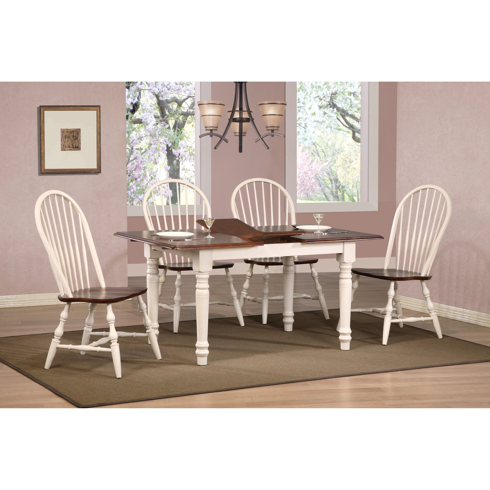 Sunset Trading 5 pc. Butterfly Dining Set with Spindleback Chairs - Antique White