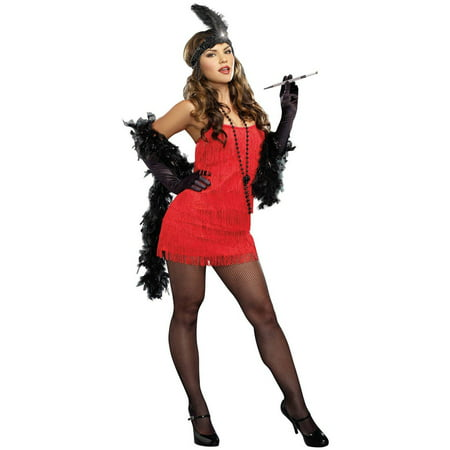 20s Red Flapper Dress Women's Adult Halloween Costume](20s Showgirl Costume)