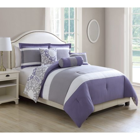 10 Piece Milan Lavender Gray Reversible Bed In A Bag Set