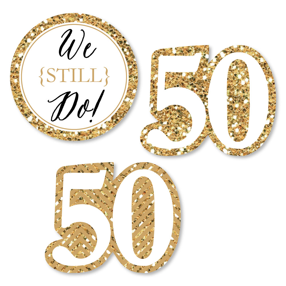 We Still Do - 50th Wedding Anniversary - DIY Shaped Party Cut-Outs - 24 Count