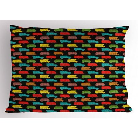 Camper Pillow Sham Colorful Van and Trailer on Dark Toned Background Traveling Theme Summer Vacation, Decorative Standard King Size Printed Pillowcase, 36 X 20 Inches, Multicolor, by (Travel Trailer With King Size Bed And Bunks)