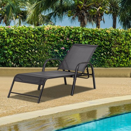 Set of 2 Patio Lounge Chairs Sling Chaise Lounges Recliner Adjustable Back - image 5 of 10