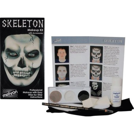Skeleton Makeup Kit (Skeleton Makeup Character Kit, Includes: Grey, White, And Black Base Makeup, Two Sponge Applicators, Powder Puff, Black Liner Pencil, Color set Powder, Black Hood By)