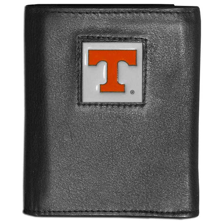 Tennessee Volunteers Deluxe Leather Tri-fold Wallet Packaged in Gift Box (F)