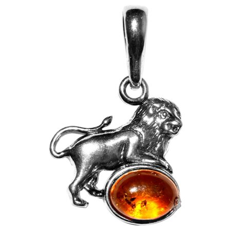 Amber 925 Sterling Silver Pendant (1.79g Leo Authentic Baltic Amber 925 Sterling Silver Pendant Jewelry A1693)