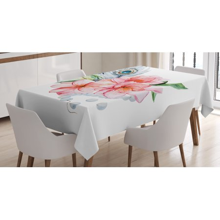 Shabby Chic Decor Tablecloth, Watercolor Peony Anemone Flowers Peacock Feather and Beads Artful Image, Rectangular Table Cover for Dining Room Kitchen, 60 X 90 Inches, Multicolor, by Ambesonne (Peacock Tablecloth)