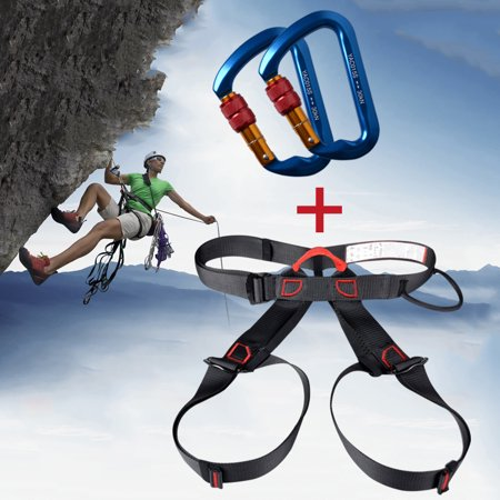 Safety Harness Bust Seat Belt Rescue Zip Line Rock Climb Rescue Equipment for Climbing IClover + [2 Packs] Stainless Steel Climbing Carabiner D-Ring Camping Screwgate 30kN Screw Locking ()