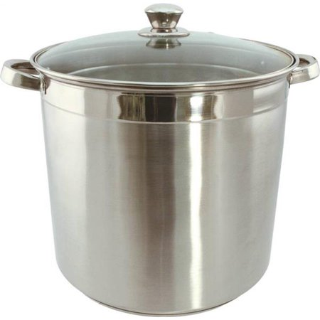 Dura Kleen 3008 Heavy Duty Stock Pot With Glass Lid, 8 qt Capacity, 11 in L x 20 in W x 9 in H, Stainless Steel per 2