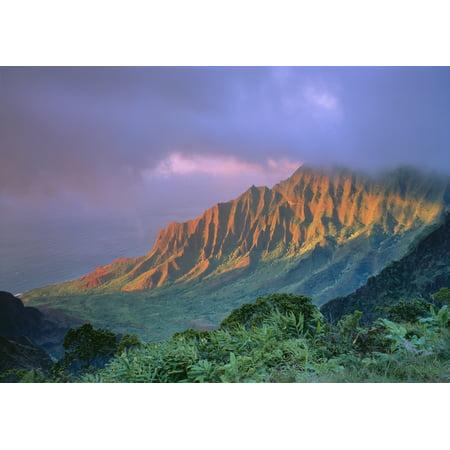 Hawaii Kauai Kalalau Valley With Cloud Cover Pink Hues Ocean Visible C1548 Canvas Art - Greg Vaughn  Design Pics (18 x 13)