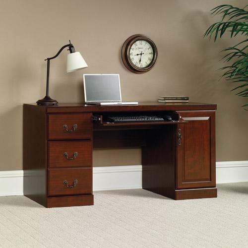 Sauder Heritage Hill Computer Credenza Desk, Classic Cherry
