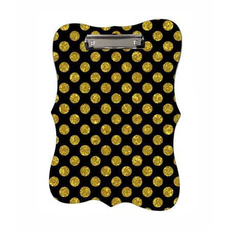 Gold Polka Dots - Benelux Shaped 2-Sided Hardboard Clipboard - Dry Erase Surface
